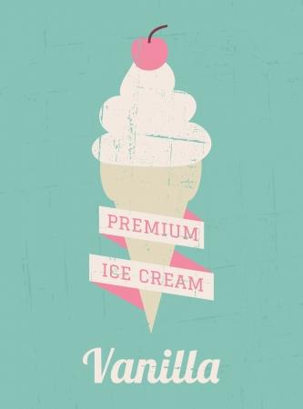 helado cucurucho: Vanilla ice cream Vintage estilo cartel