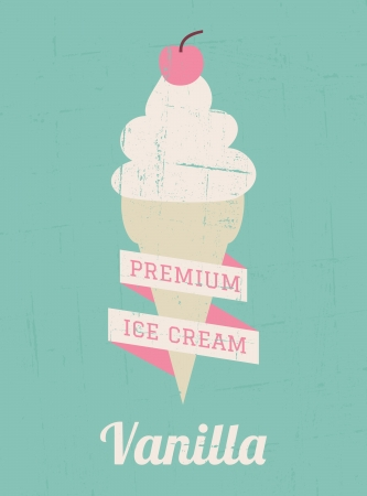 ice cream: Vintage style vanilla ice cream poster  Illustration