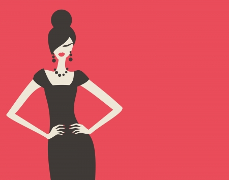 Elegant fashion model in black dress against red background  Vector