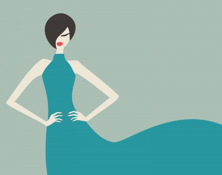 red lips: Elegant fashion model in a beautiful blue dress  Illustration