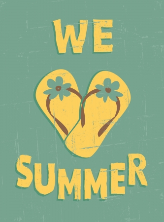 flipping: Grungy summer poster  Summer vacations concept