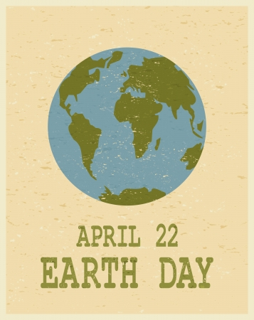 vintage world map: Recycled paper Earth Day poster