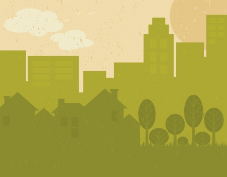 earth day: Recycled paper green city poster