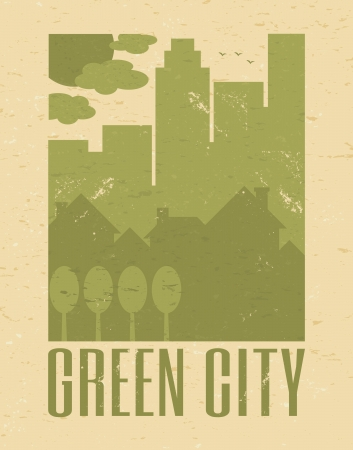 Recycled paper green city poster  Vector
