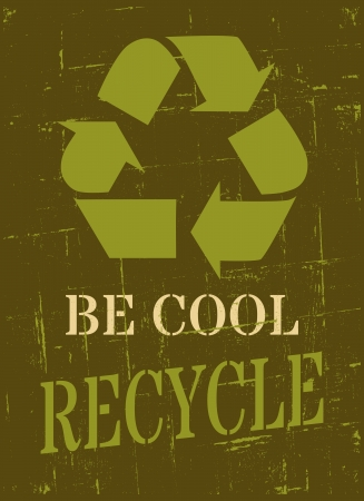 Grungy Earth Day poster with recycle symbol  Vector