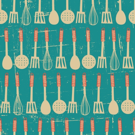 Seamless pattern with kitchen utensils in retro style Stock Vector - 19047014