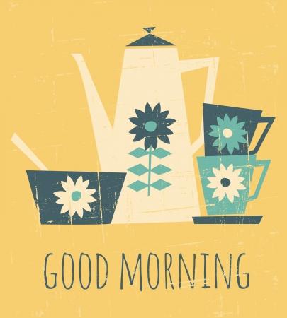 comida rica: Ilustración de estilo retro con una taza de café, tazas y un plato Vectores