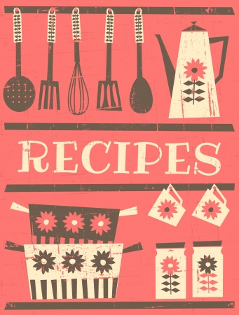 whisk: Retro style recipe card with kitchen items  Illustration