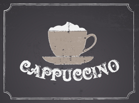 Chalkboard design cappuccino poster  Vector