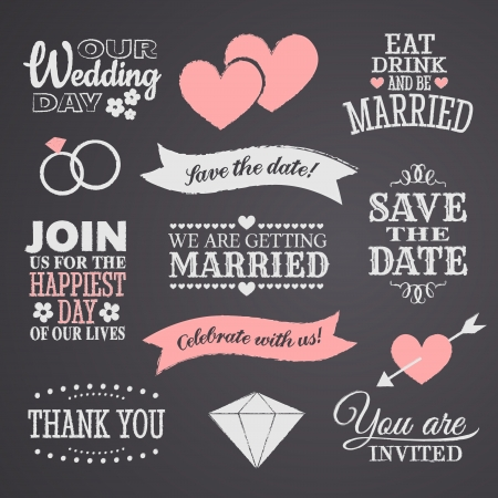 wedding invitation: Chalkboard style wedding design elements
