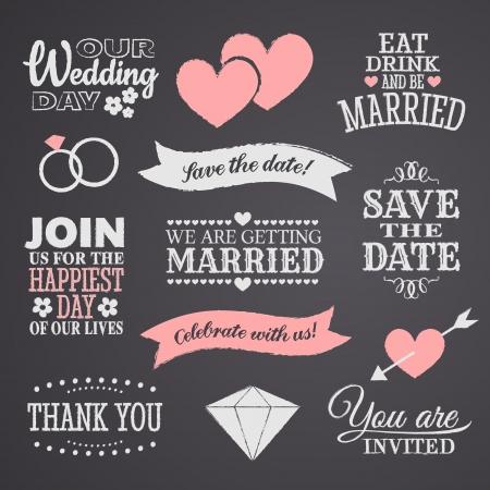 Estilo de pizarra elementos de diseño de la boda