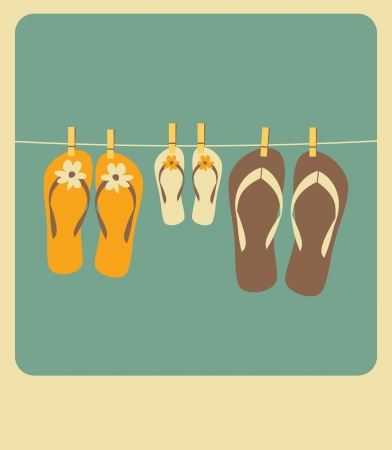 Illustration of three pairs of flip flops  Family vacation concept  Vector