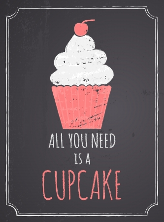 cupcake illustration: Chalkboard style poster with cupcake