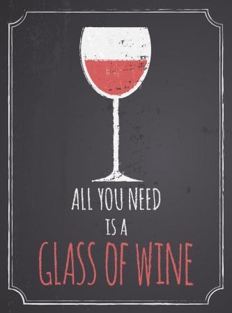 copa de vino: Cartel del estilo pizarra con un vaso de vino tinto Vectores