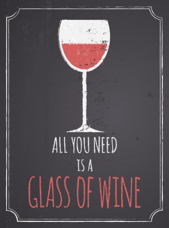 Chalkboard style poster with a glass of red wine  Vector
