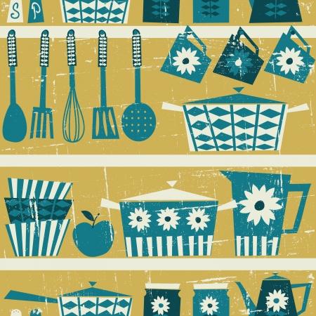 cucina antica: Seamless pattern con oggetti da cucina in stile retr? Vettoriali