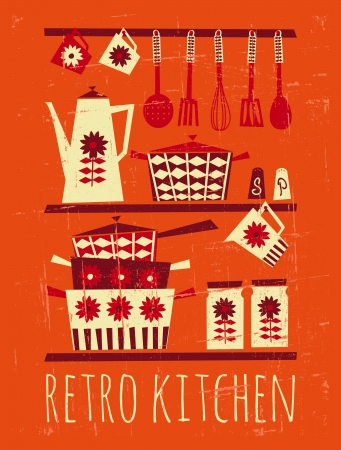 kitchen illustration: Poster with kitchen items in retro style  Illustration