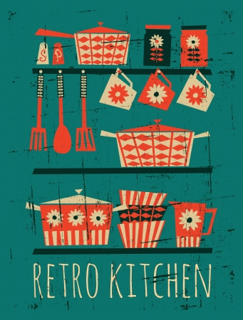 kitchen utensils: Poster with kitchen items in retro style  Illustration