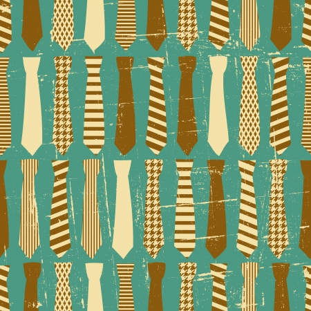 neck tie: Seamless pattern with neck ties in vintage style