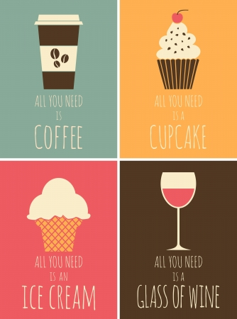 helado cucurucho: Una serie de carteles coloridos con café, chocolate, helado y vino tinto
