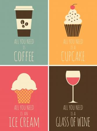 chocolate ice cream: Une s�rie d'affiches color�es avec du caf�, du chocolat, de la cr�me glac�e et le vin rouge Illustration