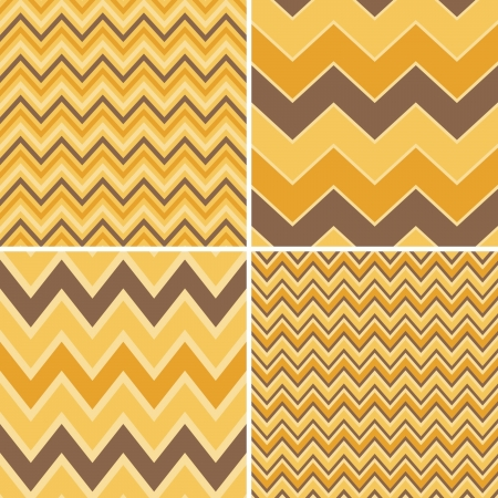 A set of four seamless chevron patterns in yellow, orange and brown  Vector