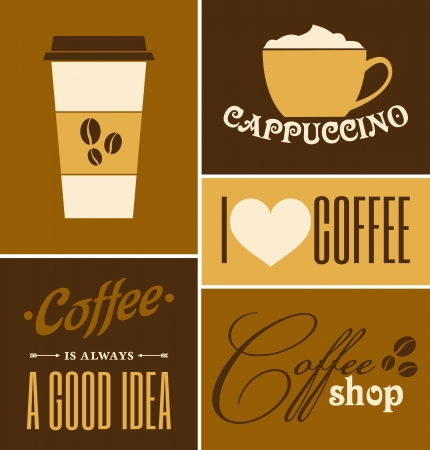 A set of retro design coffee posters   Vector