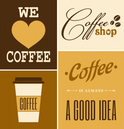 A set of retro design coffee posters  Illustration