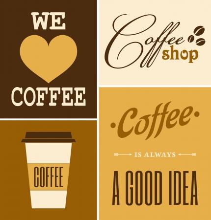 Um conjunto de café retro de design cartazes