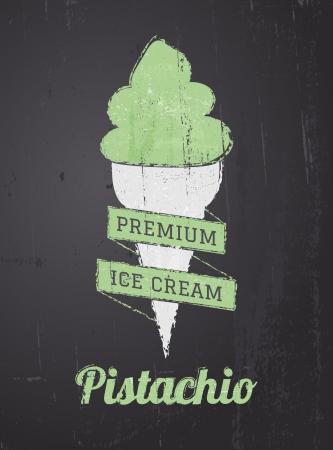 pistachio: Chalkboard style ice cream poster