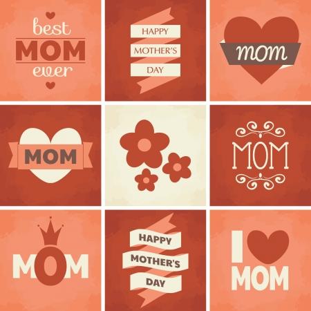 어머니의: 어머니의 날에 대한 귀여운 복고풍 디자인의 집합