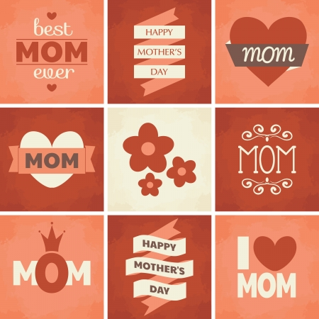 A set of cute retro designs for Mother s Day  Vector