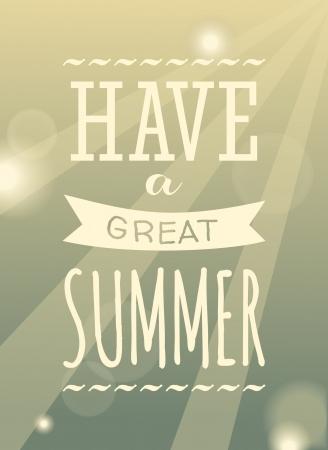 Conception typographique ciel affiche de l'été. Vecteurs