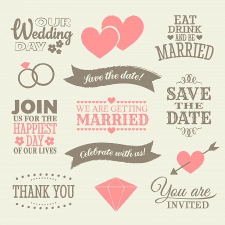 A set of wedding design elements and icons.
