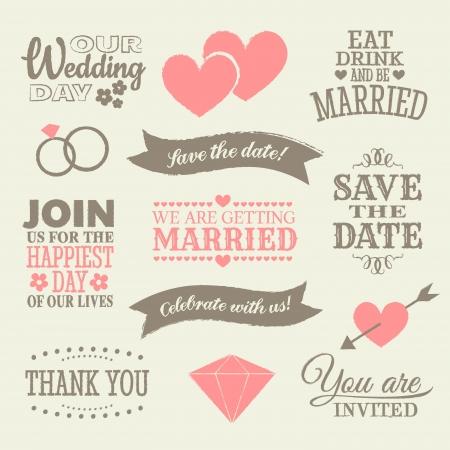 Un conjunto de elementos y de iconos del diseño de la boda. Ilustración de vector