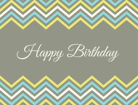 Birthday greeting card with chevron decoration.  Vector