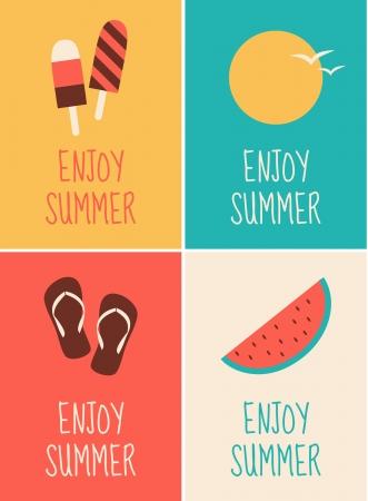 minimalista: Egy sor négy minimalista nyári témájú plakátok.
