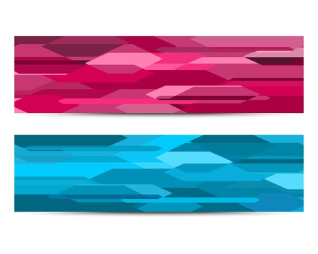 A set of two abstract horizontal banners in pink and blue  Illustration
