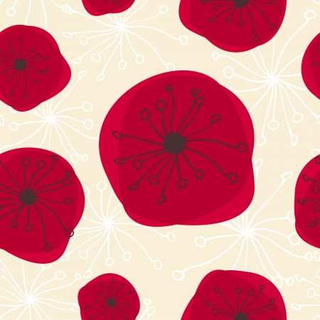 Seamless abstract pattern with flowers in red, black and beige  Vector