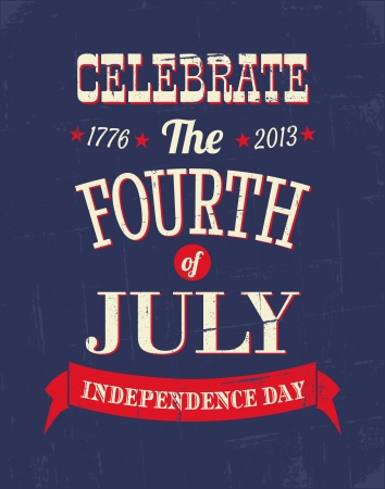 Grungy poster for the American Independence Day  Vector