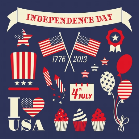 A set of retro style design elements for Independence Day