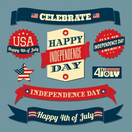 A set of retro style design elements for Independence Day  Vector