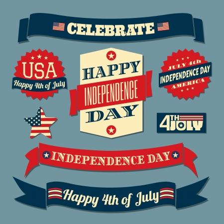 fourth of july: Un insieme di elementi di design retr� stile per Independence Day Vettoriali