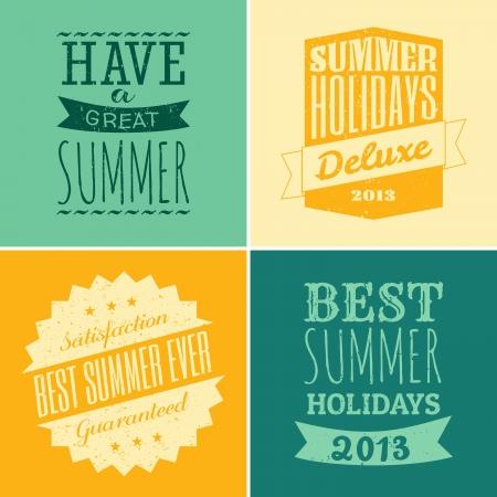 summer: Набор из четырех конструкций типографских к летнему сезону Иллюстрация