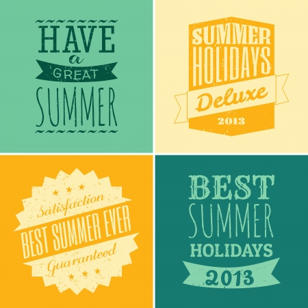 A set of four typographic designs for the summer season  Vector