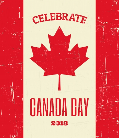Vintage greeting card design for Canada Day. Vector