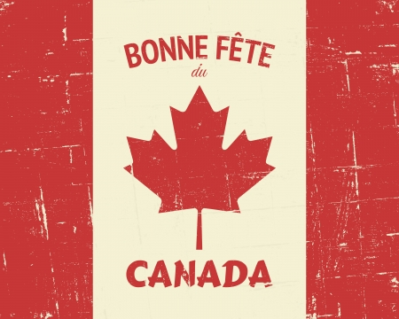 French Happy Canada Day greeting card design. Vector