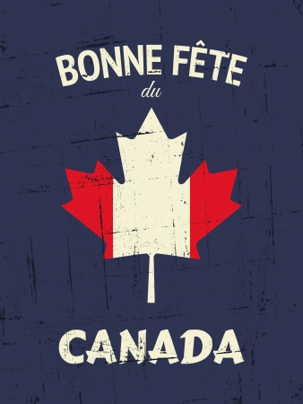 canada day: French Happy Canada Day greeting card design.