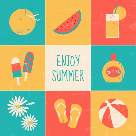 sunscreen: A set of nine minimalist summer-themed cards.  Illustration