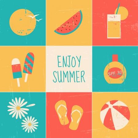 minimalista: Egy sor kilenc minimalista nyári témájú lapok. Illusztráció